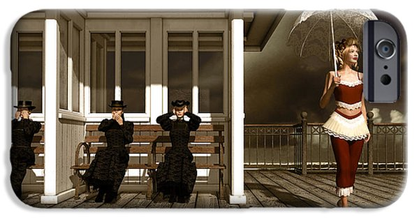 Bathing Mixed Media iPhone Cases - Three victorian ladies sepia iPhone Case by Britta Glodde