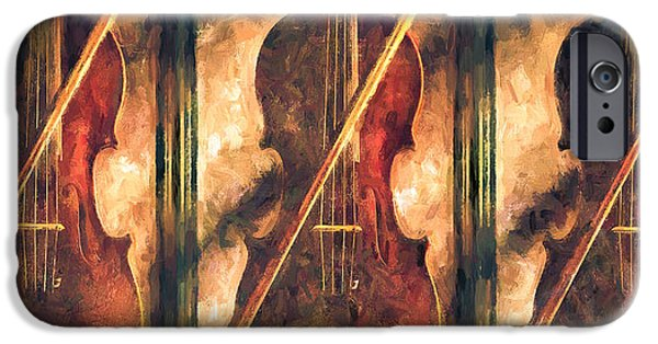 Collectibles Mixed Media iPhone Cases - Three Violins iPhone Case by Bob Orsillo