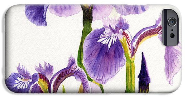 Three iPhone Cases - Three Wild Irises Square Design iPhone Case by Sharon Freeman