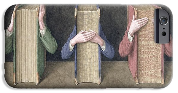 Hear iPhone Cases - Three Wise Books, 2005 Wc On Paper iPhone Case by Jonathan Wolstenholme