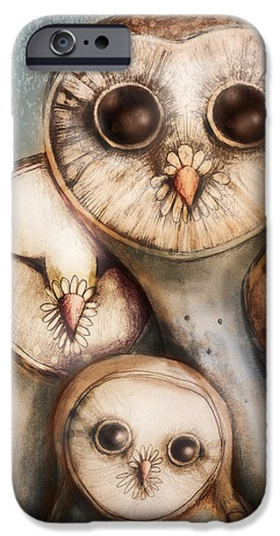 Baby Bird Digital iPhone Cases - Three Wise Owls iPhone Case by Karin Taylor