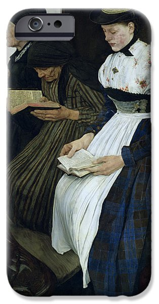 Sit-ins Paintings iPhone Cases - Three Women in Church iPhone Case by Wilhelm Maria Hubertus Leibl