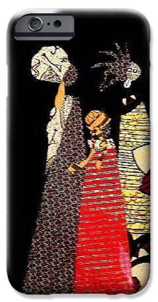 People Tapestries - Textiles iPhone Cases - Three Women in the Dark iPhone Case by Ruth Yvonne Ash