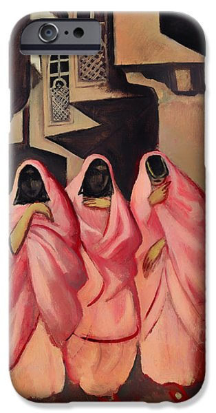 Baghdad iPhone Cases - Three Women on the Street of Baghdad iPhone Case by Jazeps Grosvalds