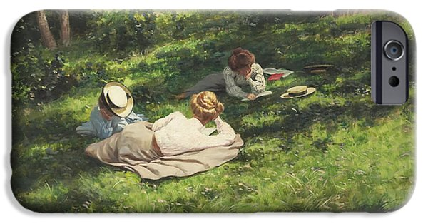 Concept Paintings iPhone Cases - Three Women Reading iPhone Case by Krouthen