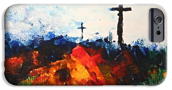 The Wooden Cross Paintings iPhone Cases - Three Wooden Crosses iPhone Case by Kume Bryant