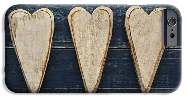 Three iPhone Cases - Three Wooden Hearts iPhone Case by Carol Leigh