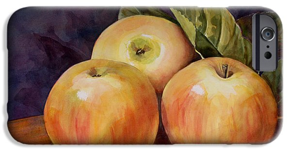 Apple iPhone Cases - Three Yellow Apples Still Life iPhone Case by Blenda Studio