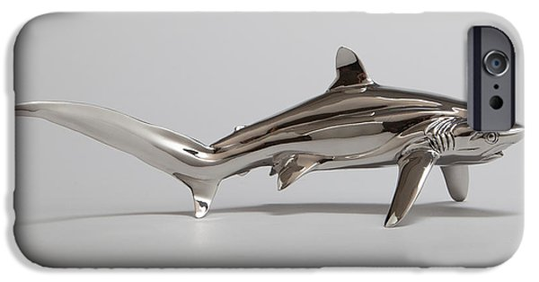 Shark Sculptures iPhone Cases - Thresher Shark iPhone Case by Victor Douieb