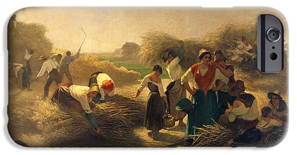 Agriculture iPhone Cases - Threshing Rapeseed In The Fields Of Lille Oil On Canvas iPhone Case by Auguste Joseph Herlin