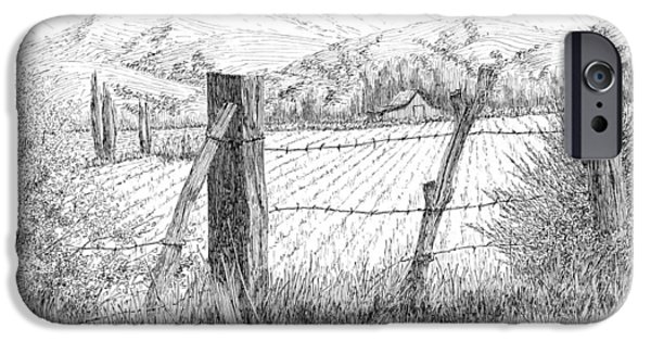 Agriculture Drawings iPhone Cases - Through the Fence iPhone Case by David King