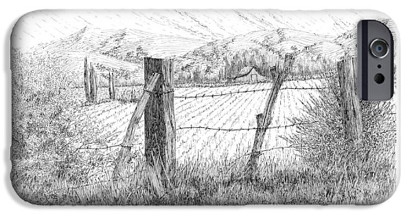 Crops Drawings iPhone Cases - Through the Fence iPhone Case by David King