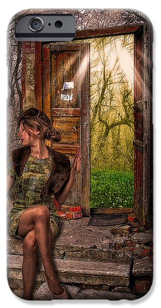 Young Photographs iPhone Cases - Through The Forest Door iPhone Case by Erik Brede