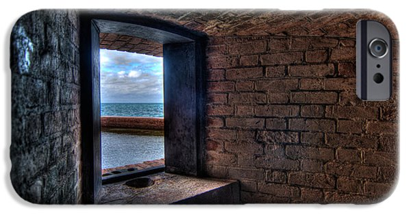 Beach iPhone Cases - Through the fort window iPhone Case by Andres Leon