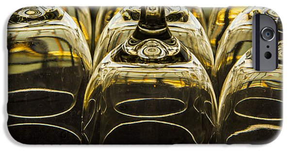 Wine Service Photographs iPhone Cases - Through the Glasses iPhone Case by Jean Noren