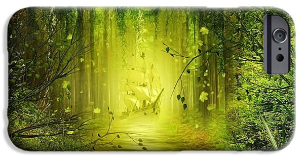Pathway Mixed Media iPhone Cases - Through the Jungle iPhone Case by Svetlana Sewell