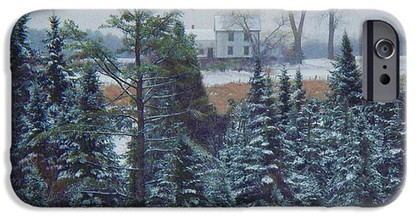 Winter In Maine iPhone Cases - Through The Trees iPhone Case by Joy Nichols