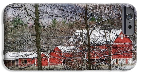 Best Sellers -  - Red Barn In Winter iPhone Cases - Through The Trees iPhone Case by Stephanie Calhoun