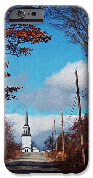 Androscoggin iPhone Cases - Through The Trees View Of The Norlands Church Steeple iPhone Case by Joy Nichols