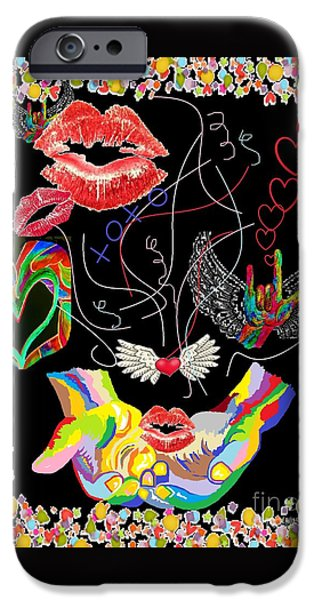 Recently Sold -  - Lips iPhone Cases - THROWING KISSES and I LOVE YOUs iPhone Case by Eloise Schneider