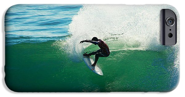 Santa Cruz Surfing iPhone Cases - Throwing Light iPhone Case by Paul Topp