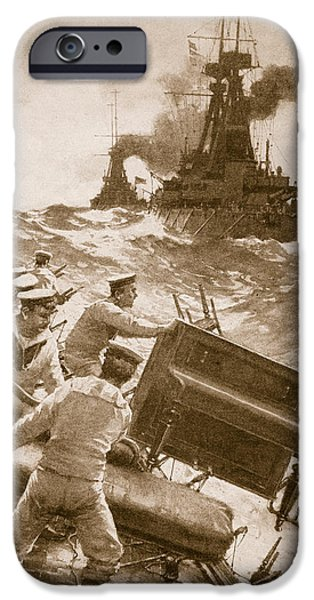 Piano Drawings iPhone Cases - Throwing Overboard All Inflammable Luxuries When a Battleship is Cleared for Action iPhone Case by English School