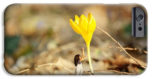Little Girl iPhone Cases - Thumbelina and the Crocus iPhone Case by Sonya Kanelstrand