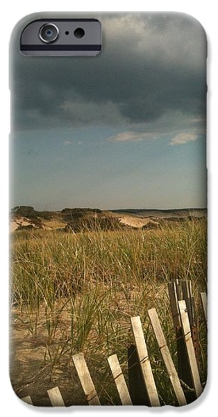 Storm Clouds Cape Cod Photographs iPhone Cases - Thunder Dunes iPhone Case by Tricia Nilsson