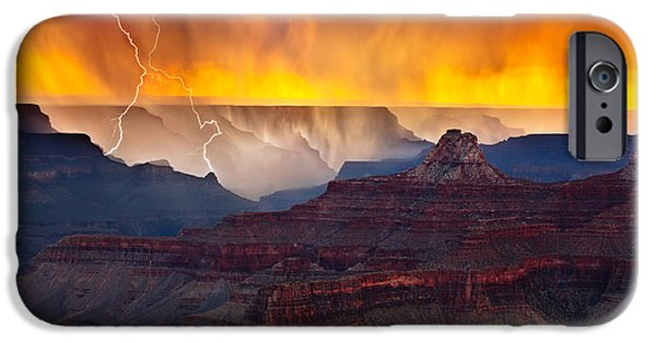 Grand Canyon iPhone Cases - Thunder in the Canyon iPhone Case by Adam Schallau