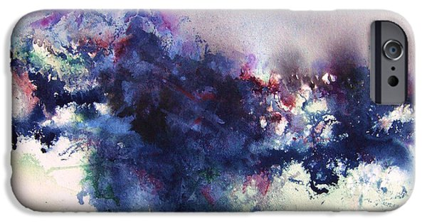 Blue Paintings iPhone Cases - Thunder Mountain iPhone Case by BJ Pinkston
