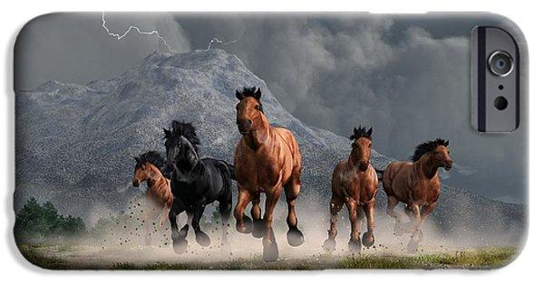 Remington Digital iPhone Cases - Thunder on the Plains iPhone Case by Daniel Eskridge