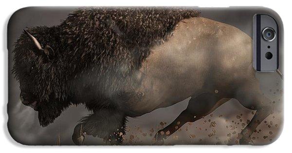 Bison Art iPhone Cases - Thunderbeast iPhone Case by Daniel Eskridge