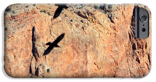 Arizona iPhone Cases - Thunderbirds Gliding over Cliff in Grand Canyon National Park Square Crop iPhone Case by Shawn O