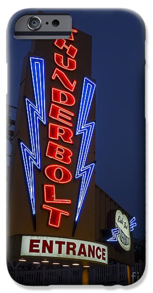 Thunderbolt Rollercoaster Neon Sign iPhone Case by Edward Fielding