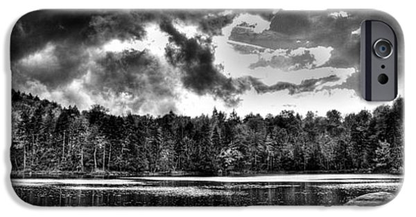 Monotone iPhone Cases - Thunderclouds over Cary Lake iPhone Case by David Patterson