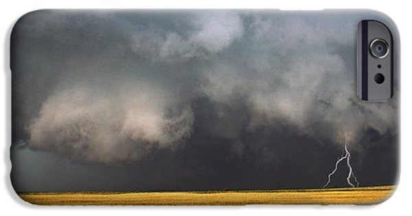 Images Lightning iPhone Cases - Thunderstorm Advancing Over A Field iPhone Case by Panoramic Images