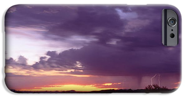 Photography Lightning iPhone Cases - Thunderstorm Clouds At Sunset, Phoenix iPhone Case by Panoramic Images