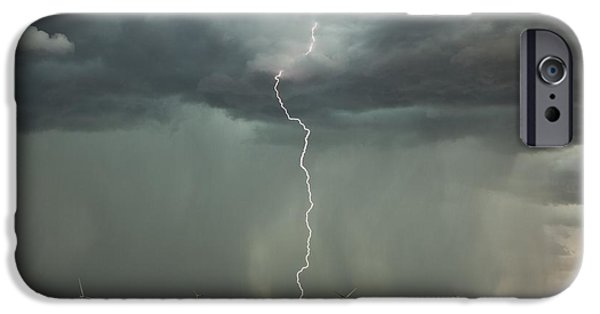 Electrical iPhone Cases - Thunderstorm Over A Wind Farm iPhone Case by Roger Hill
