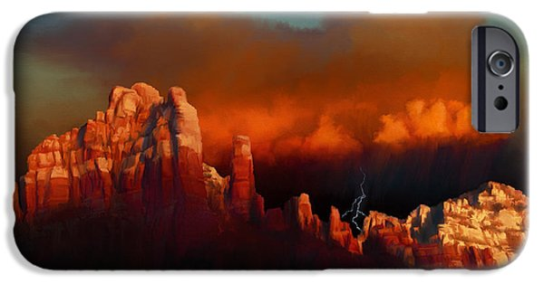 Raining iPhone Cases - Thunderstorm Over Sedona iPhone Case by Dale Jackson
