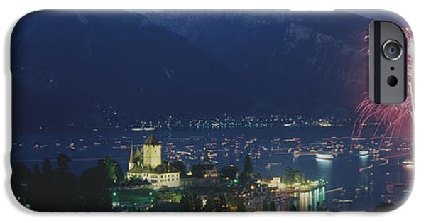 Fireworks iPhone Cases - Thuner See, Spiez, Switzerland iPhone Case by Panoramic Images