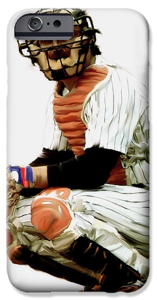 Baseball Drawings iPhone Cases - Thurman Munson  iPhone Case by Iconic Images Art Gallery David Pucciarelli