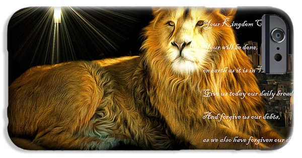 Lion Digital Art iPhone Cases - Thy Kingdom Come 201502113brun with Prayer iPhone Case by Wingsdomain Art and Photography