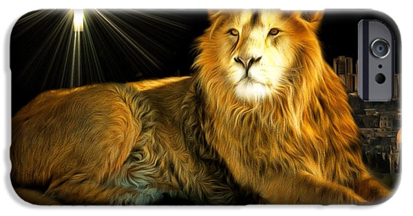 Lion Digital Art iPhone Cases - Thy Kingdom Come 201502113brun with text iPhone Case by Wingsdomain Art and Photography