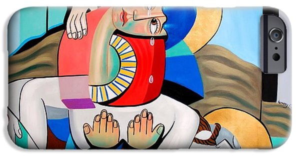 Mother Mary Digital Art iPhone Cases - Thy Will Be Done  iPhone Case by Anthony Falbo