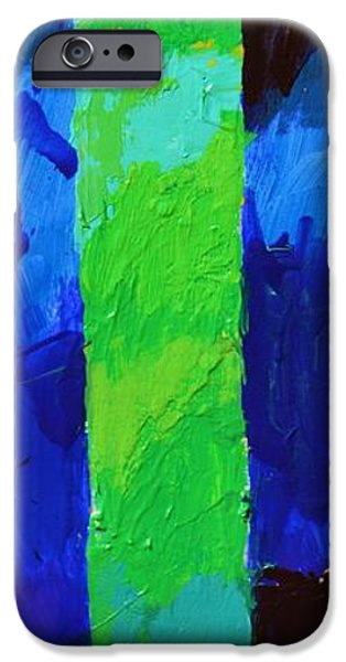 Abstract Expressionist iPhone Cases - Thy Word Is Settled in Heaven - Psalm 119 89 - Green Bending iPhone Case by Philip Jones