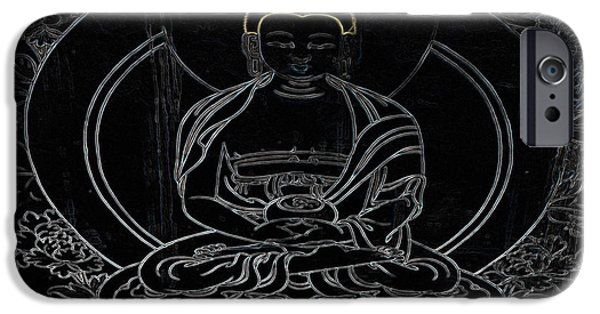 Tibetan Buddhism iPhone Cases - Tibet Buddha Black iPhone Case by Kate McKenna