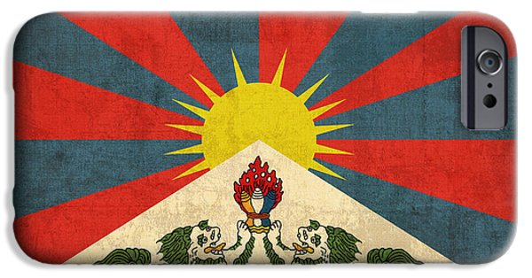 Tibet iPhone Cases - Tibet Flag Vintage Distressed Finish iPhone Case by Design Turnpike