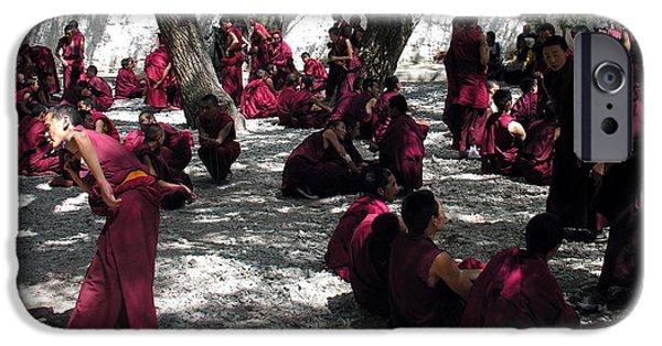 Tibetan Buddhism iPhone Cases - Tibet - Sera Monastery - Monks in Debate iPhone Case by Jacqueline M Lewis
