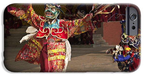 Tibetan Buddhism iPhone Cases - Tibetan Buddhist Dance Ritual iPhone Case by Karma Ganzler