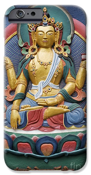 Tibetan Buddhism iPhone Cases - Tibetan buddhist deity iPhone Case by Tim Gainey